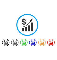 dollar bar chart trend rounded icon vector image
