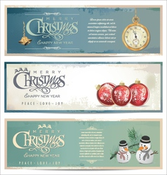 Merry christmas retro banner set vector image vector image
