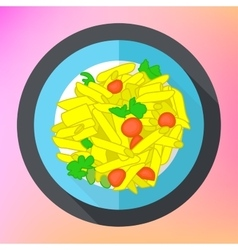 Pasta penne flat icon vector image vector image