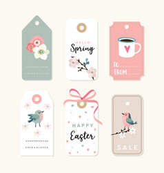 set of spring easter gift tags and labels with vector image vector image