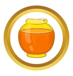 Bank with honey icon vector image