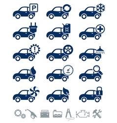 Car service icons blue set vector image