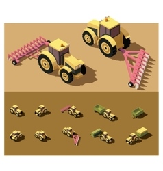 isometric low poly tractor vector image vector image