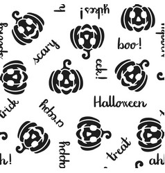 pumpkin and halloween word seamless pattern black vector image