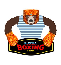 Russian Bear Boxer patriot Boxing gloves and vector image vector image