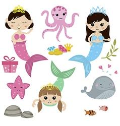 Set of cute girl mermaids vector image vector image