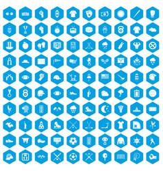 100 baseball icons set blue vector image