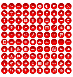 100 marine environment icons set red vector