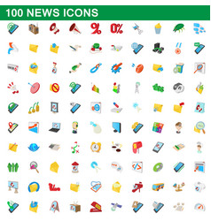 100 news icons set cartoon style vector image