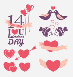 14 february valentines day design elements set vector image