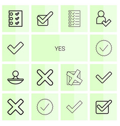 14 yes icons vector