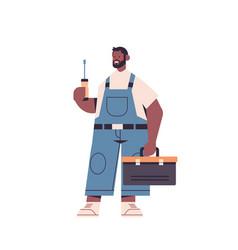 African american professional repairman in uniform vector