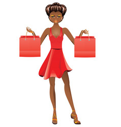 Afro american shopping girl vector