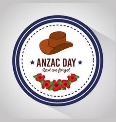 Anzac day lest we forget badge with hat and vector