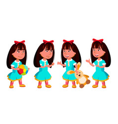 Asian girl kindergarten kid poses set vector