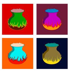 Assembly flat potion cauldron vector