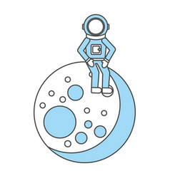 Astronaut in the moon comic character icon vector