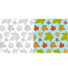 autumn maple leaf pattern fall leaves seamless vector image
