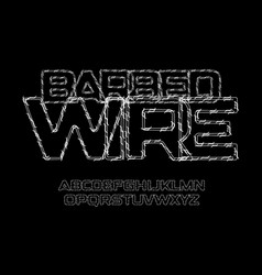 Barbed wire letters and numbers set thin contour vector