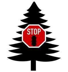 bark-beetle stop sign vector image
