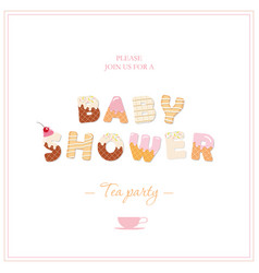Bashower tea party invitation design sweet vector