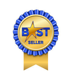 best seller award ribbon icon gold blue badge vector image