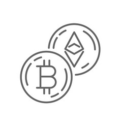 bitcoin currency exchange thin line symbol icon vector image