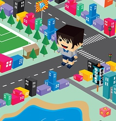 block isometric world cartoon vector image