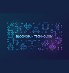 Blockchain technology colored outline vector