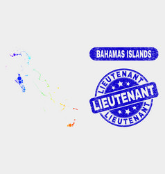 Bright mosaic bahamas islands map and scratched vector