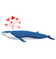 Brydes whale spurt water with heart vector
