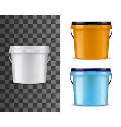 bucket mockups white orange blue pails and lids vector image