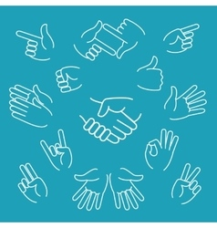 Business hand gestures linear icons vector image
