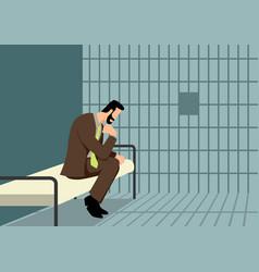 businessman in jail vector image
