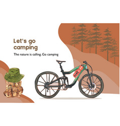 Camping frame design with bicycle backpack bucket vector