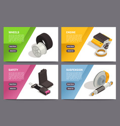 Car parts isometric banners vector