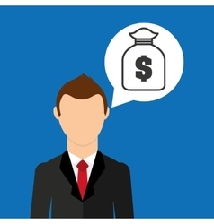 Cartoon business man bag money save icon desing vector