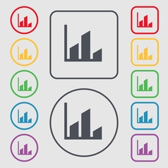 Chart icon sign symbol on the Round and square vector image