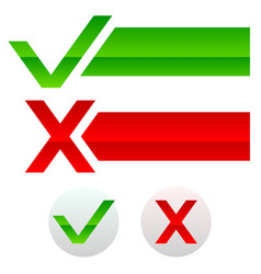 checkmark and cross buttons and banners vector image