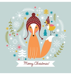 Christmas card with cute fox vector