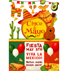 Cinco de mayo viva mexico fiesta party invitation vector