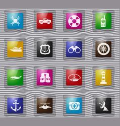 Coast guard glass icons set vector