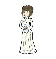 Comic cartoon shocked victorian woman vector