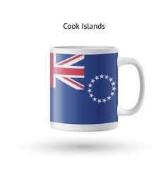 Cook Islands flag souvenir mug on white background vector