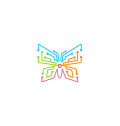 creative butterfly technology logo vector image