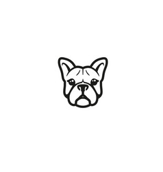 creative french bulldog head logo vector image