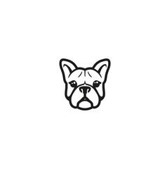 Creative french bulldog head logo vector