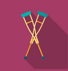 Crutches icon flat single medicine icon from the vector