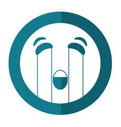 Crying emoticon style icon shadow vector
