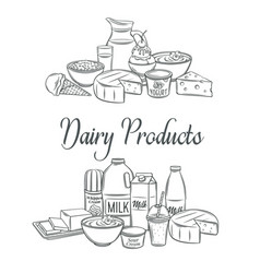 Dairy product banners sketch vector